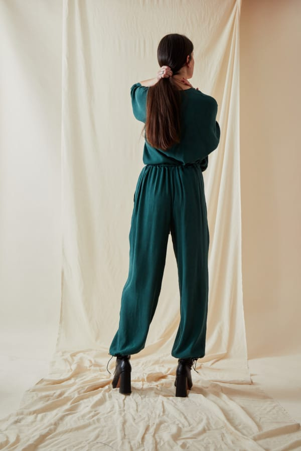 Wide and fluid pants KOZAK Veronese Green - 4