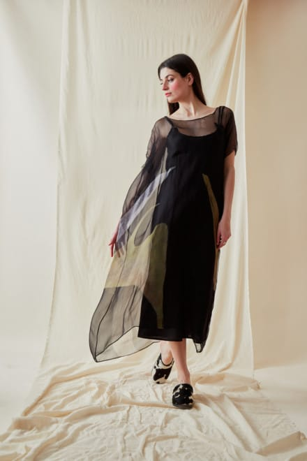 Loose hand-painted silk dress GAIA - 2