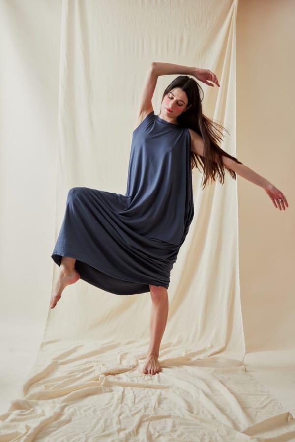 Loose and long viscose knit dress ATHENA Gray-Indigo- 1