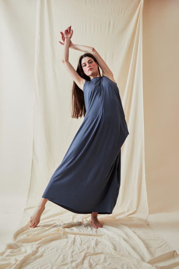 Loose and long viscose knit dress ATHENA Gray-Indigo - 2