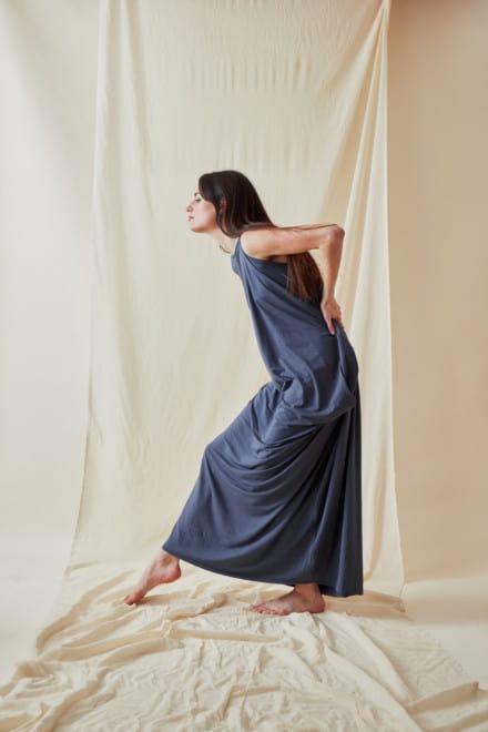 Loose and long viscose knit dress ATHENA Gray-Indigo - 3