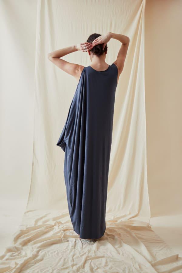 Loose and long viscose knit dress ATHENA Gray-Indigo - 4
