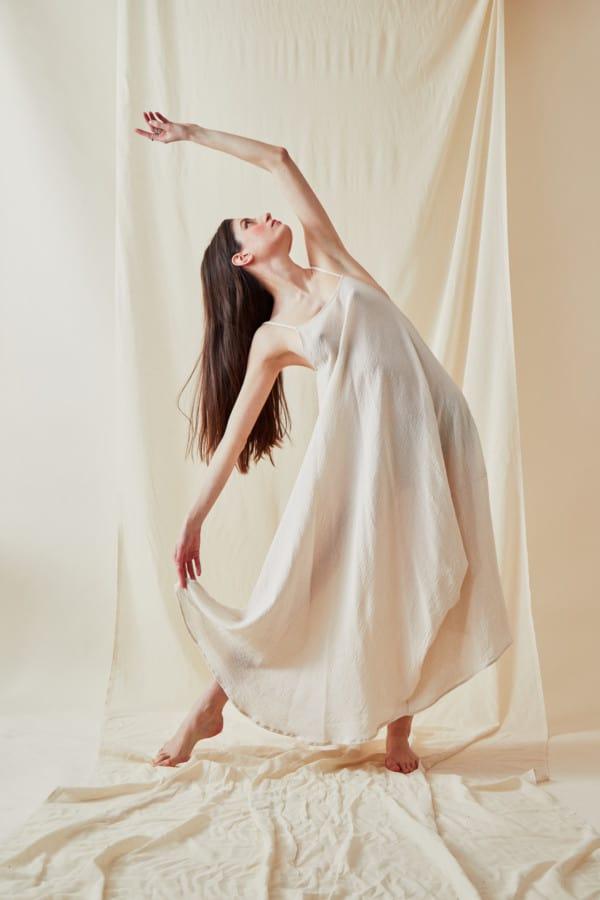 Loose organic cotton dress CALA White - 1