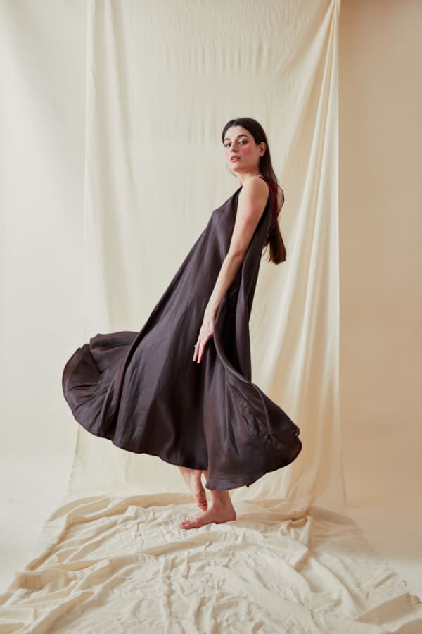 Long bohemian flared viscose dress RHODES Brown-Chocolate- 1