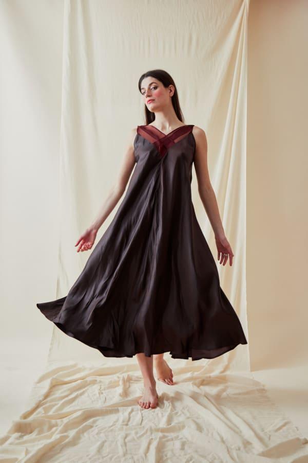 Long bohemian flared viscose dress RHODES Brown-Chocolate - 3