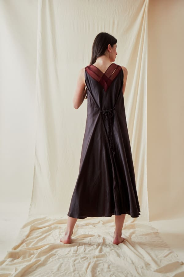 Long bohemian flared viscose dress RHODES Brown-Chocolate - 4