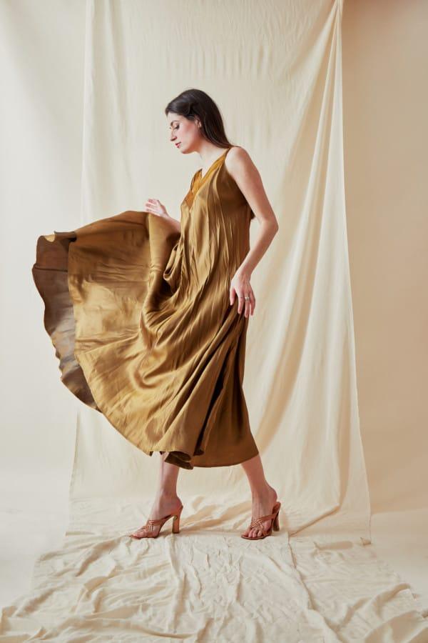 Long bohemian flared viscose dress RHODES Gold - 1
