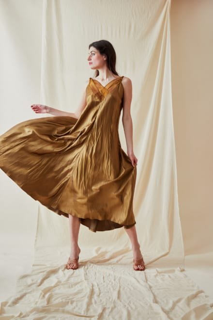 Long bohemian flared viscose dress RHODES Gold - 2