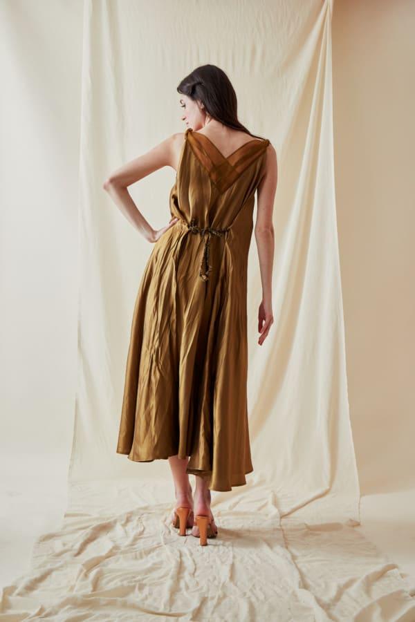 Long bohemian flared viscose dress RHODES Gold - 3
