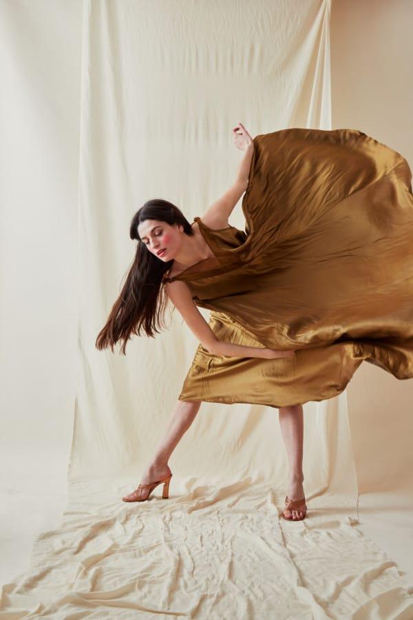 Long bohemian flared viscose dress RHODES Gold - 4
