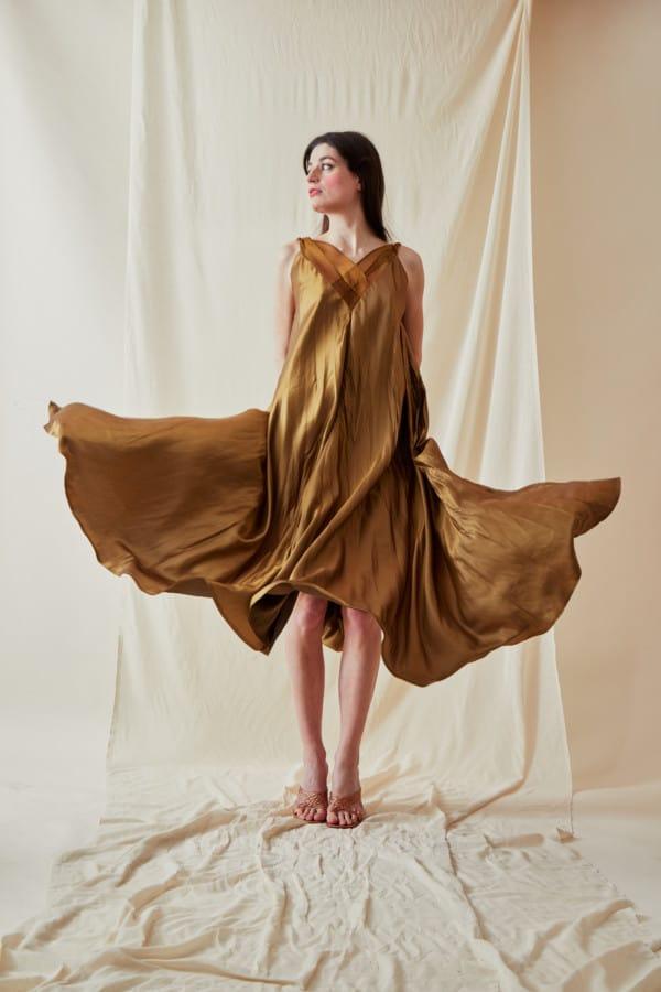 Long bLong bohemian flared viscose dress RHODES Gold - 5