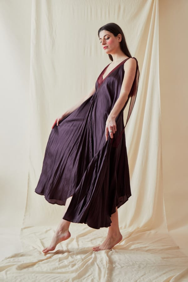 Robe longue evasee RIAMA Prune - 3