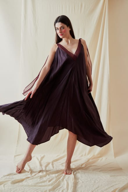 Long flared dress RIAMA Plum - 4