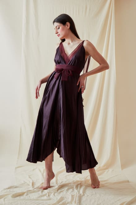 Long flared dress RIAMA Plum - 5
