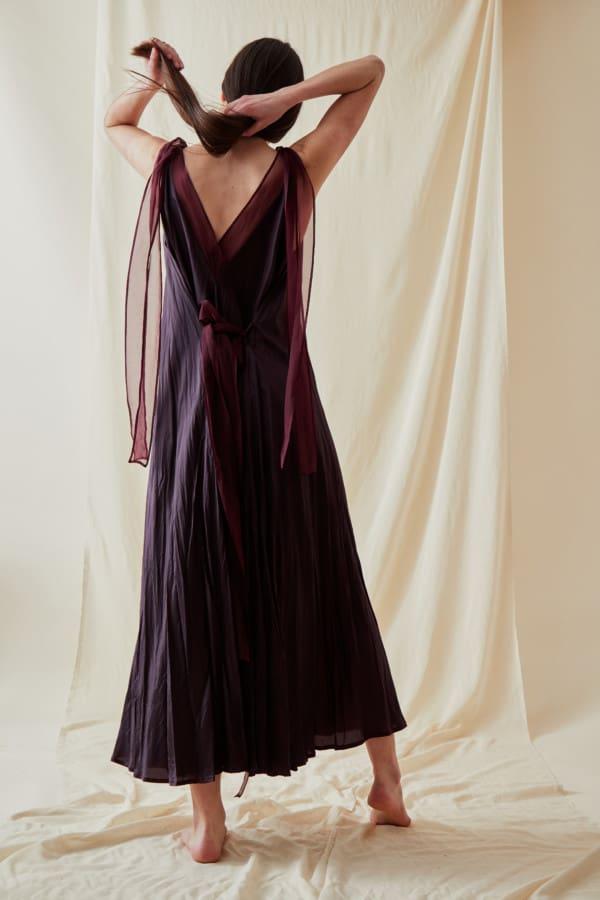 Robe longue evasee RIAMA Prune - 6