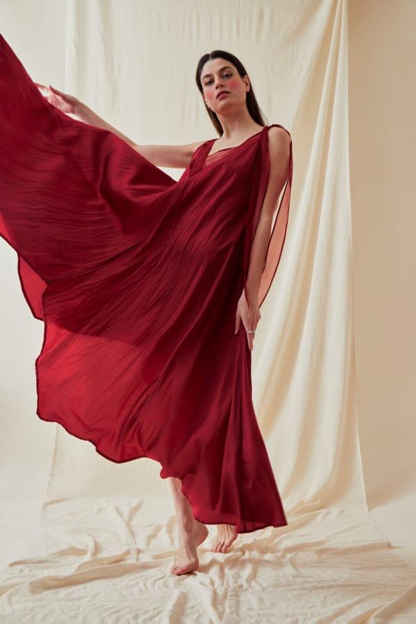 Robe longue evasee RIAMA Rouge - 1