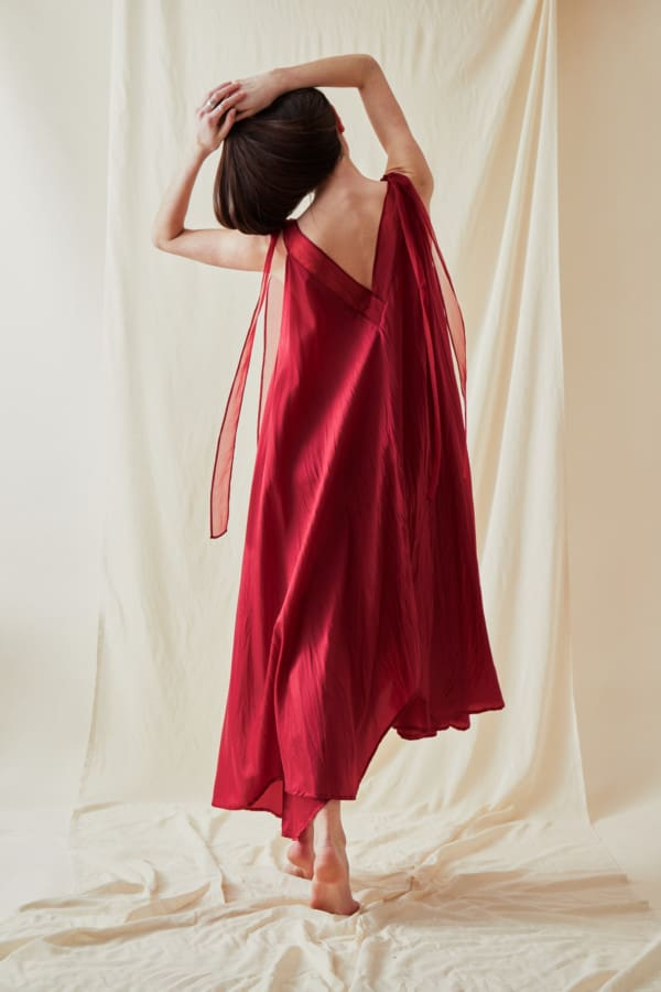 Long flared dress RIAMA Red - 3