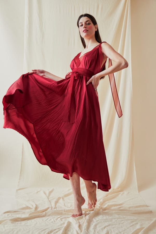Long flared dress RIAMA Red - 4