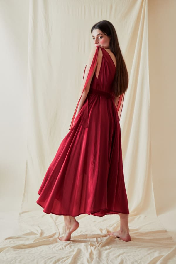 Long flared dress RIAMA Red - 5