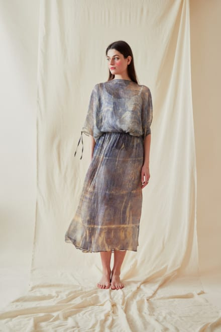 Hand Printed Chiffon Midi Dress KNOSSOS Blue - 1