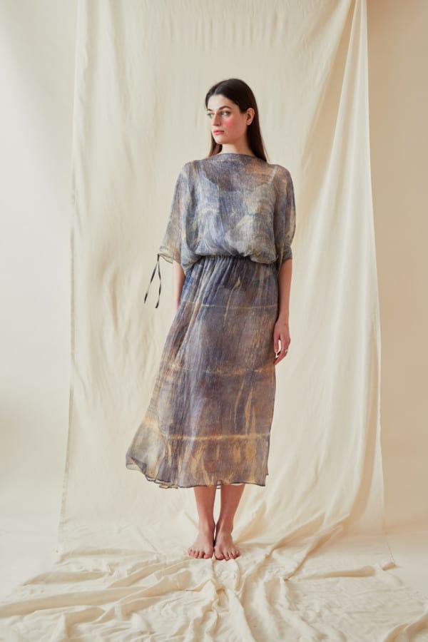 Hand Printed Chiffon Midi Dress KNOSSOS Blue - 1
