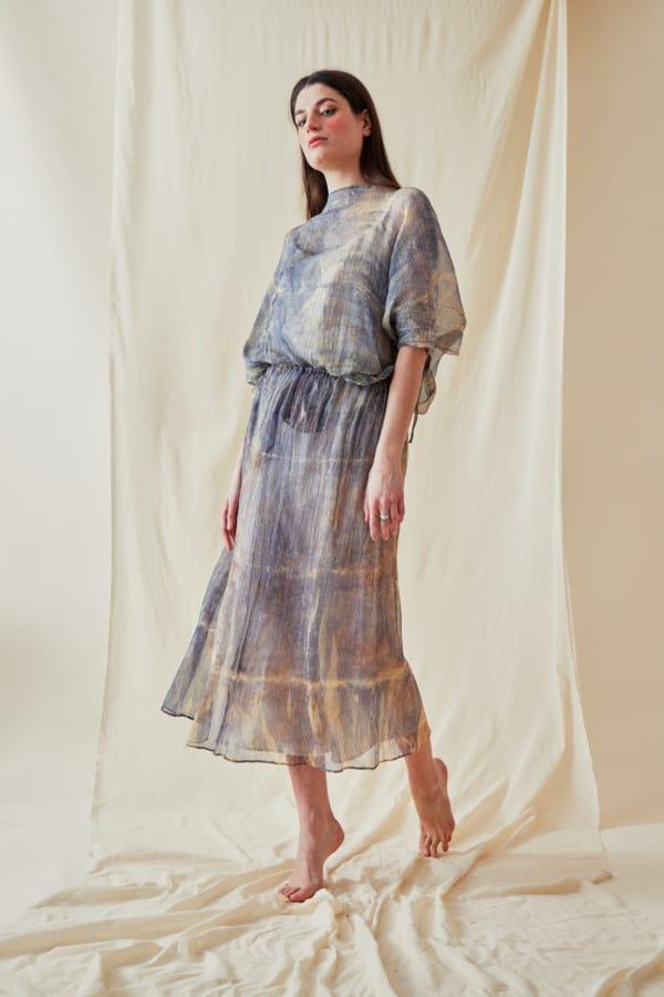 Hand Printed Chiffon Midi Dress KNOSSOS Blue - 2