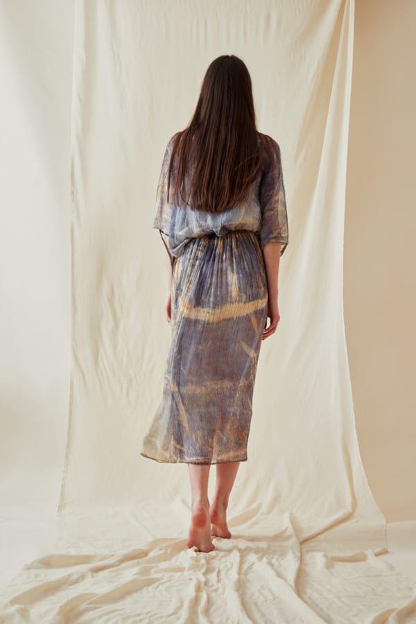 Hand Printed Chiffon Midi Dress KNOSSOS Blue - 3