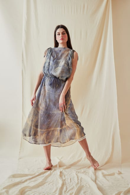 Hand Printed Chiffon Midi Dress KNOSSOS Blue - 4