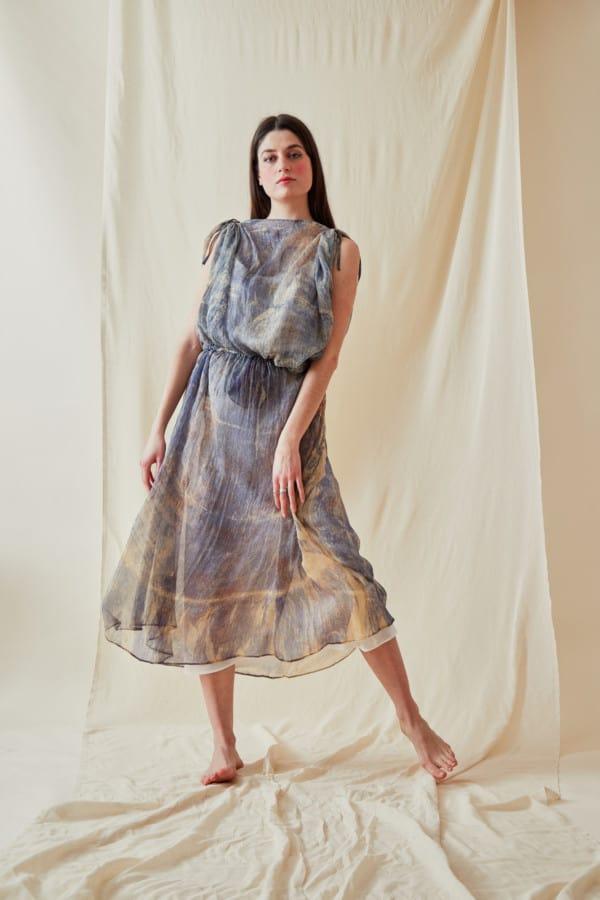 Hand Printed Chiffon Midi Dress KNOSSOS Blue - 4