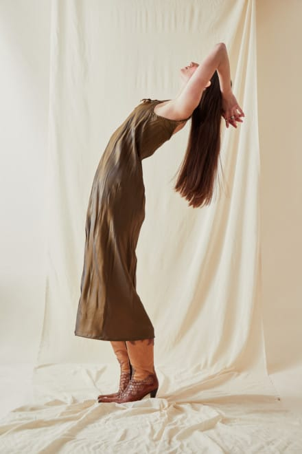 Mid-length viscose slip dress DIA Bronze - 2