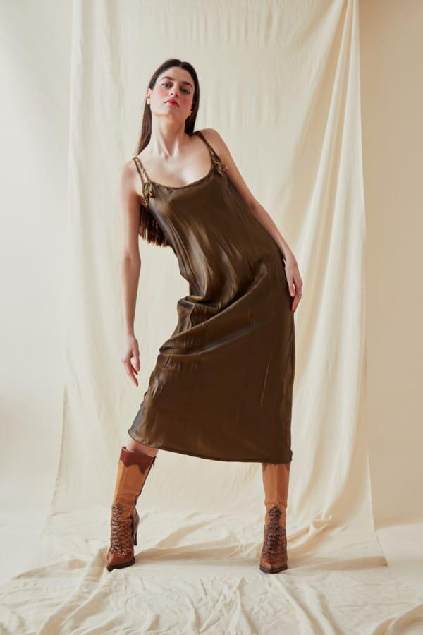 Mid-length viscose slip dress DIA Bronze - 3