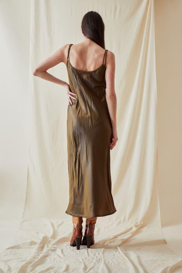 Mid-length viscose slip dress DIA Bronze - 4