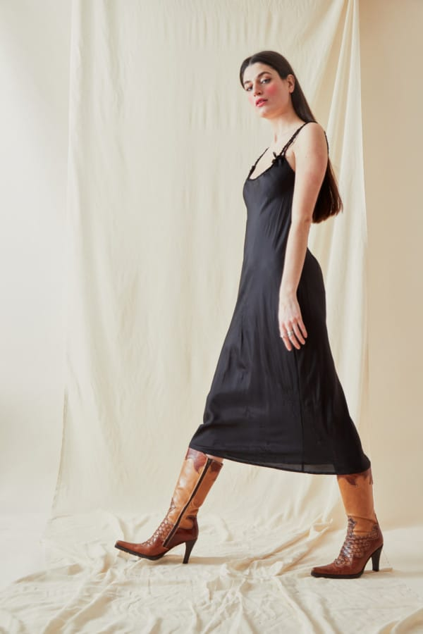 Mid-length viscose slip dress DIA Black - 1