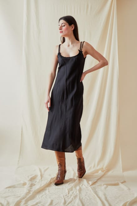 Mid-length viscose slip dress DIA Black - 2