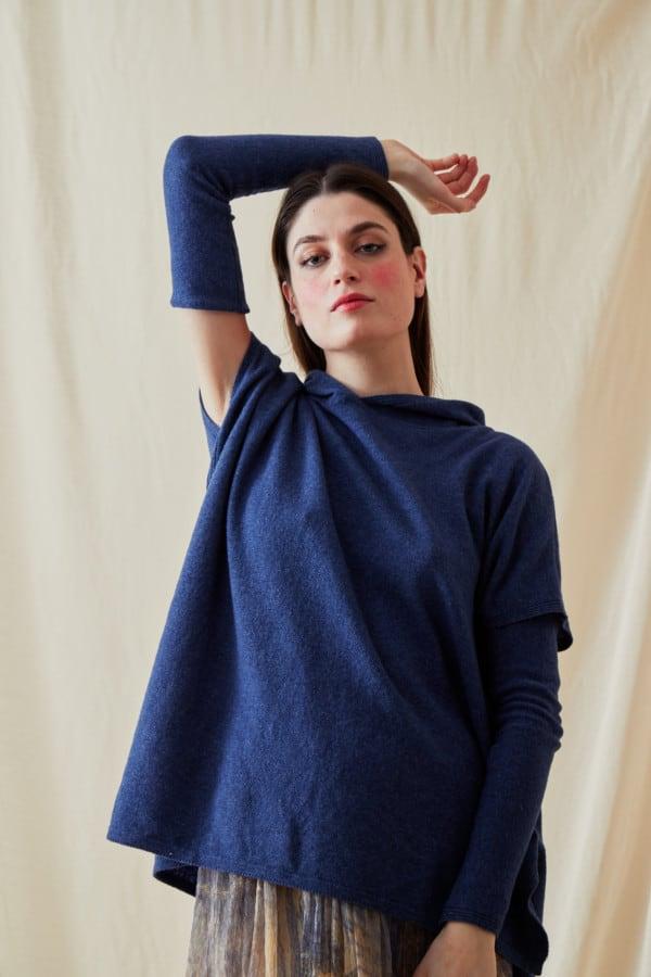 Sweat-shirt a capuche en laine IBIZA Bleu-Jeans - 2
