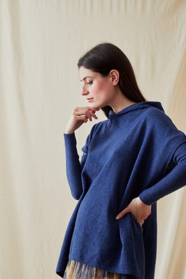 Sweat-shirt a capuche en laine IBIZA Bleu-Jeans - 3