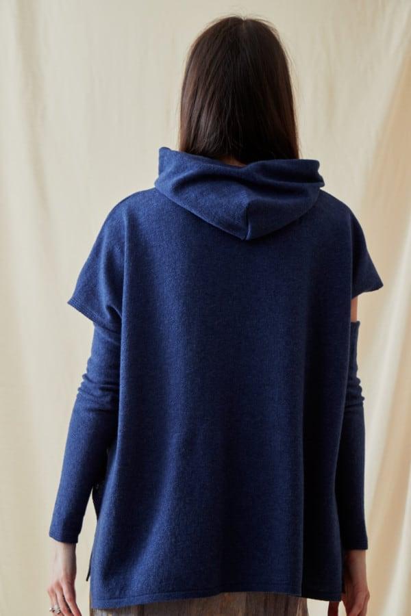 Sweat-shirt a capuche en laine IBIZA Bleu-Jeans - 4