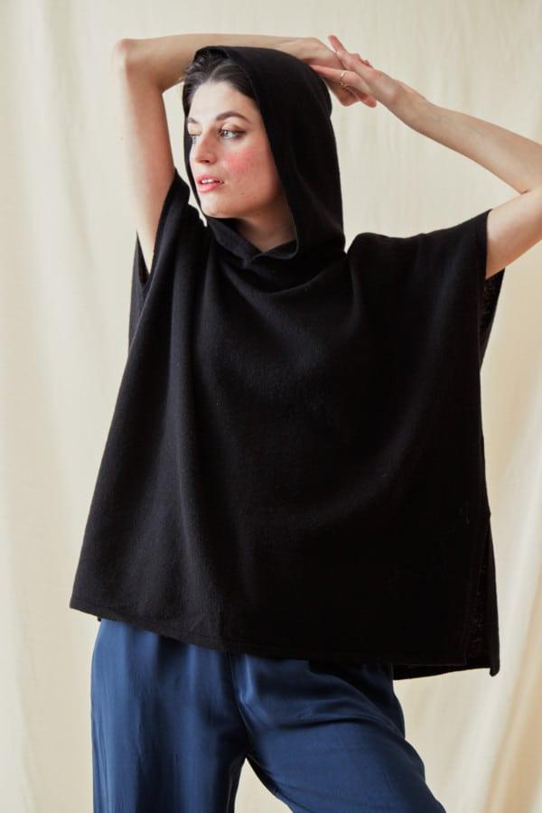 Sweat-shirt a capuche en laine IBIZA Noir - 1