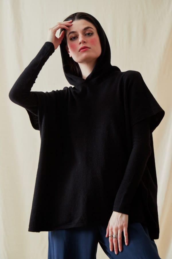 Sweat-shirt a capuche en laine IBIZA Noir - 2