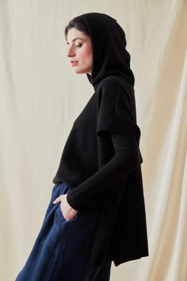 Sweat-shirt a capuche en laine IBIZA Noir - 3