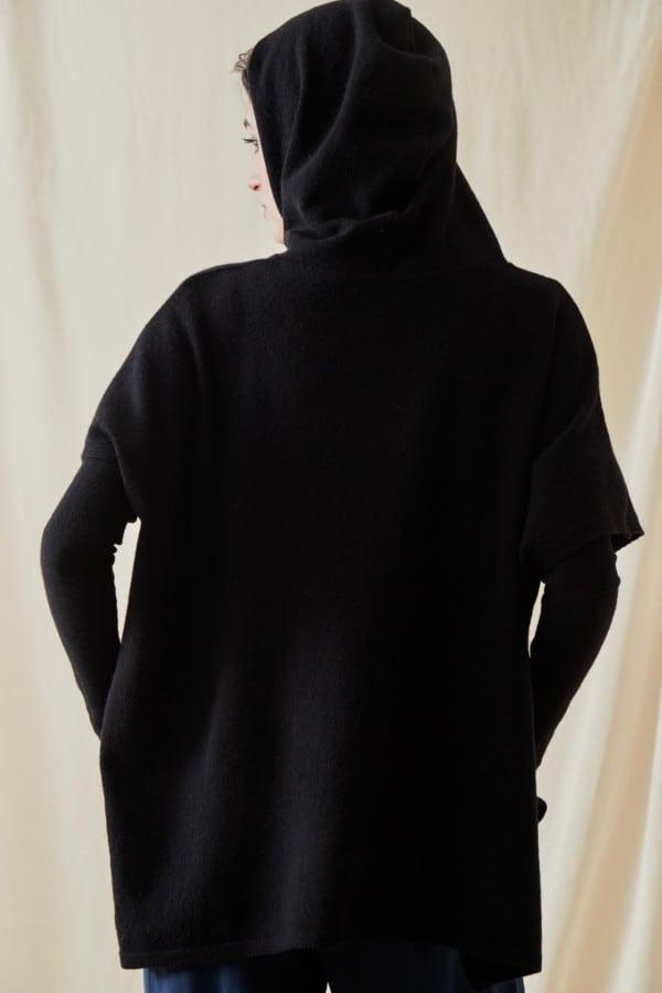 Sweat-shirt a capuche en laine IBIZA Noir - 4