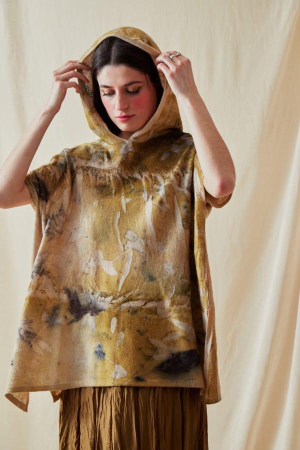 Sweat-shirt a capuche en laine eco-print MYCONOS - 1