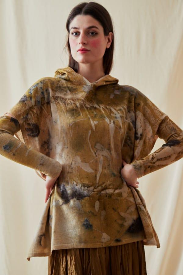 Sweat-shirt a capuche en laine eco-print MYCONOS - 2