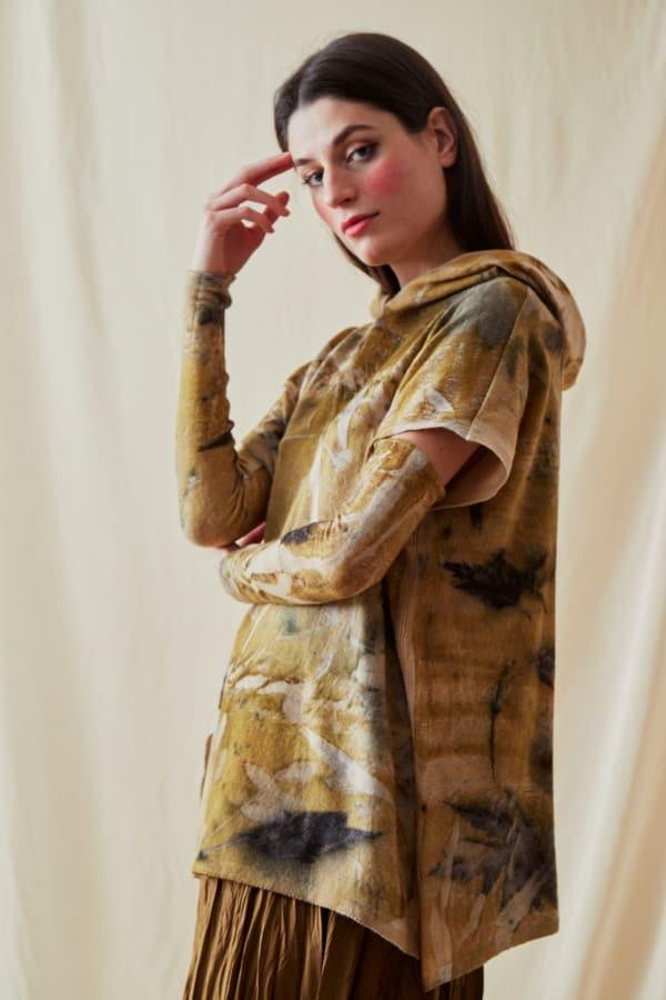 Sweat-shirt a capuche en laine eco-print MYCONOS - 3