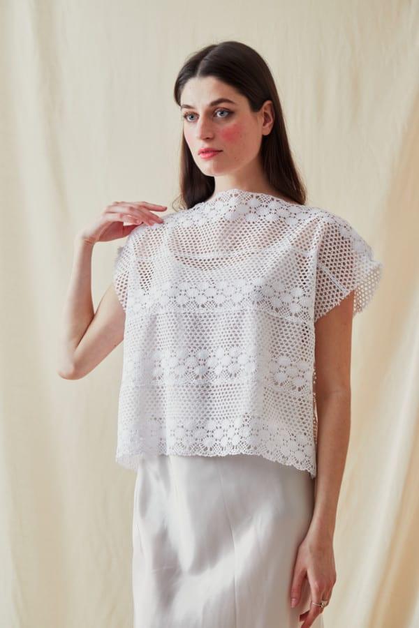 Vintage lace top SYMI White- 1