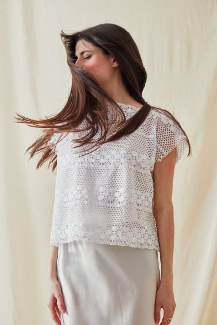 Vintage lace top SYMI White- 4