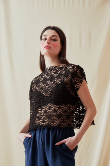 Vintage lace top SYMI Black - 1