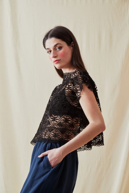 Vintage lace top SYMI Black - 2