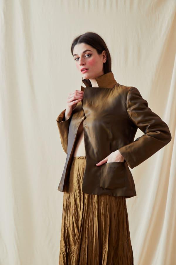 Reversible fleece jacket AGIA Bronze-Gold - 1