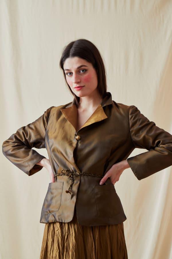 Reversible fleece jacket AGIA Bronze-Gold - 4
